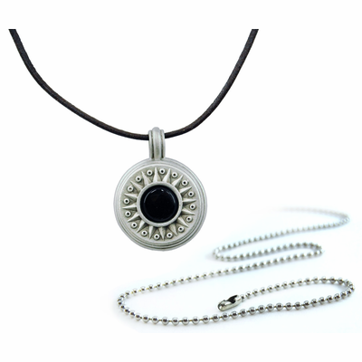 Pewter Onyx Stone Compass Necklace