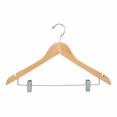 17in. Flat Hangers w/ Chrome Metal Bar and Clips