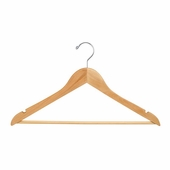 17in. Wishbone Hanger w/ Chrome Hook and Wooden Bar Natural