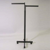 2 way Rectangular Upright Garment Rack with X Base and Casters