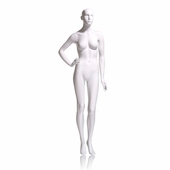 Eve Female Mannequin - Abstract head, Right Hand On Hip, Left Leg Slightly Bent