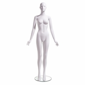 Female Mannequin Abstract Head Facing Straight, Arms at Side