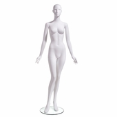 Female Mannequin Abstract Head Facing Straight, Arms at Side, Right Leg Slightly Bent