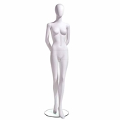 Female Mannequin Oval Head Facing Straight, Arms Behind Back, Left Leg Slightly Forward
