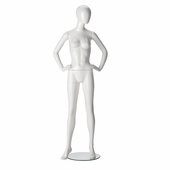Female Mannequin - Oval Head, Hands on Hips, Legs Straight