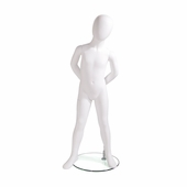 Kids Mannequin 4 Year Old, Egg Head Tilted Left, Arms Behind Back, Right Foot Pointed Out