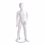 Kids Mannequin 6 Year Old, Egg Head Looking Right, Left Arm Bent In, Left Foot Pointing Out