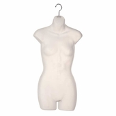 Ladies Torso Half Round Plastic Form Clear Frosted