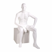 Male Mannequin Abstract Head Facing Straight, Seated