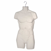 Mens Torso Half Round Plastic Form Clear Frosted