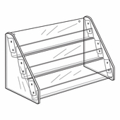 Quick Ship Acrylic 3 Shelf Tilt Back Card Rack