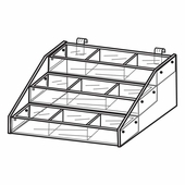 Quick Ship Acrylic Gridwall 3 Tiered Tray Displays