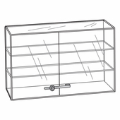 Quick Ship Acrylic Locking Double Door 2 Shelf Showcase