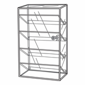 Quick Ship Acrylic Locking Showcase W / Slanted Shelves