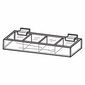 Quick Ship Acrylic Slatwall Divided Tray Displays