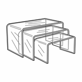 Quick Ship Clear Acrylic Long Risers Set of 3