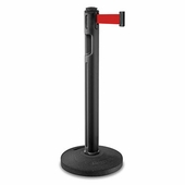 Tempest Portable Stanchion Post Black With Rubber Base