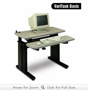 Mayline VariTask Basic with DataCenter Keyboard Mechanism - hand crank height adj. desk