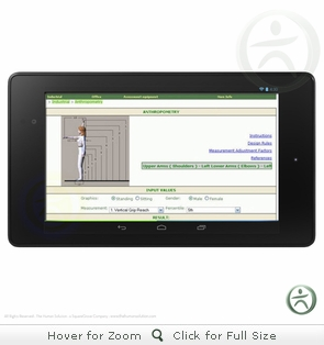 Pocket Ergo Internet Based Software with Google Nexus 7 Tablet