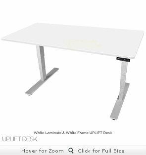 UPLIFT 900 Height Adjustable Standing Desk - White Top & Base