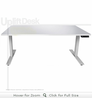 UpLift 900 Height Adjustable Standing Desk - White Top & Stone White Base