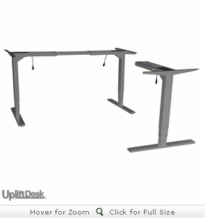 UpLift 950 Height-Adjustable 3-Leg Standing Desk Base (Silver Frame)