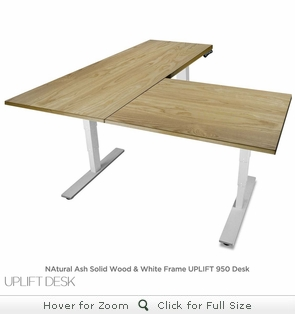 UPLIFT 950 Height-Adjustable L-Shaped Solid Wood Stand-Up Desk - Design Your Own