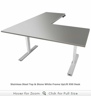 UPLIFT 950 Height Adjustable L-Shaped Stainless Steel Standing Desk