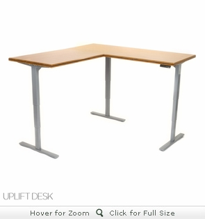 UPLIFT 950 Premium Bamboo L-Shaped Sit-Stand Ergonomic Desk