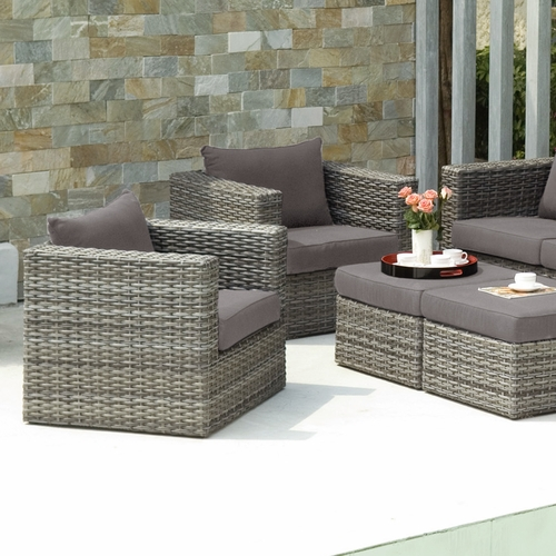Bristow Outdoor Deep Seating Chair and Ottoman 4pc Set