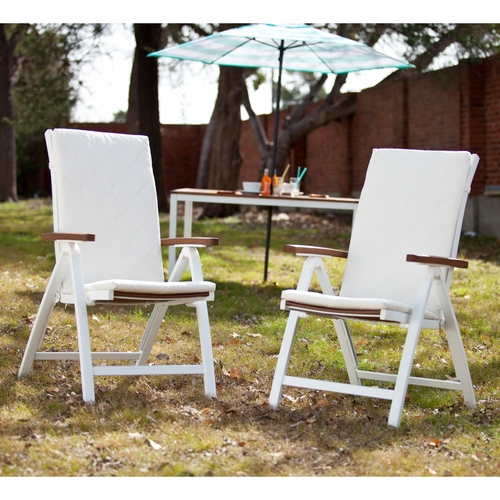 Mandalay Outdoor Position Chairs 2pc Set - Soft White