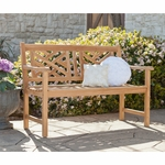 Russell Teak Chippendale 4' Bench