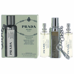 Prada Milano Infusion D'Iris by Prada, 3 x .34 oz Eau De Parfum Purse Spray Refills & Case for Women