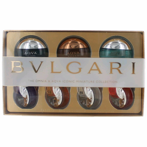 The Omnia & Aqva Iconic Miniature Collection by Bvlgari, 7 Piece Set for Men & Women