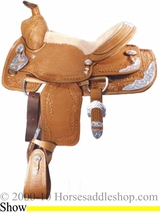 "12"" 13"" 14"" Alamo Basket/Oakleaf Tooled Youth Show Saddle 1102 1103 1104"
