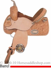 """12"""" 13"""" Alamo Colonial Tooled Barrel Pleasure Saddle for Youth 1272-COL 1273-COL"""
