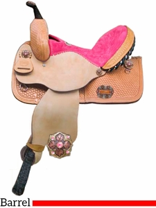 "12"" 13"" Alamo Honeycomb Tooled Pink Barel or Pleasure Saddle 1272-B5 1273-B5"