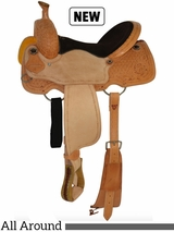 """12"""" to 16"""" Circle Y Chocolate Suede All Around Saddle 2726 w/Free Pad"""