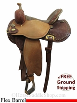 "13.5"" Circle Y Lisa Lockhart Contender 1549 Flex2 Barrel Saddle, Floor Model uscy3030 *Free Shipping*"
