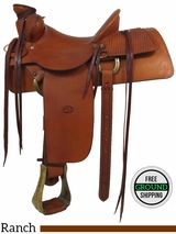 "PRICE REDUCED! 13.5"" Used Chuck Treon Ranch Saddle usct2912 *Free Shipping*"