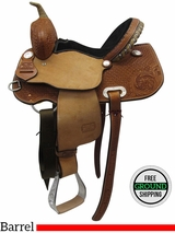 "13.5"" Used Teskey's Custom Medium Barrel Saddle usts3434 *Free Shipping*"
