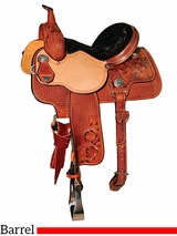 "** SALE ** 13"" to 15"" Reinsman Molly Powell Painted Daisy Barrel Saddle 4262"