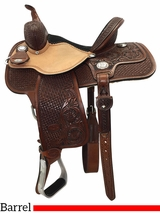 "** SALE ** 13"" to 15"" Reinsman Molly Powell Painted Daisy Barrel Saddle 4262 w/Free Pad"