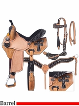 """** SALE ** 13"""" to 16"""" Silver Royal Midnight Run Barrel Saddle Package 9sr274"""