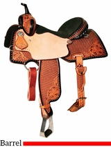 "** SALE ** 13"" to 15.5"" Reinsman Charmayne James Lily & Snowflake Barrel Saddle 4287"