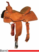"** SALE ** 13"" to 15.5"" Reinsman Charmayne James Texas Flower & Buckstitch Barrel Saddle 4283"