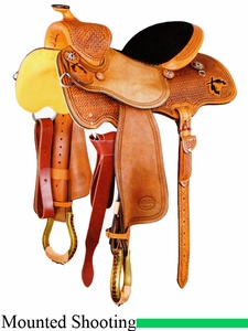 "DISCONTINUED 14"" to 15.5"" Reinsman Cody Clark Mounted Shooting Saddle 4914"