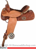 "14"" 15"" Alamo Caramel Toast Floral Tooled Flex Barrel Pleasure Saddle 1244"