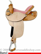 "14"" 15"" Dakota Pink Ostrich Seat Barrel Saddle 300"