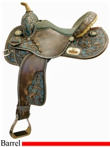"14"" Tex Tan Old Santa Fe Racer Barrel Saddle 292234"